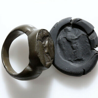 Massive-Ancient Early Roman Republic Bronze Seal Ring Circa 100-50 Bc
