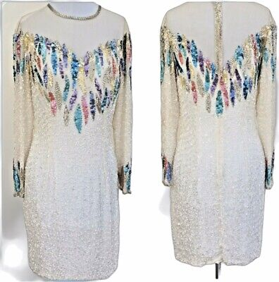Vintage Niteline Beaded Sequins 100% Silk Party Dress Knee Length Size 8 White