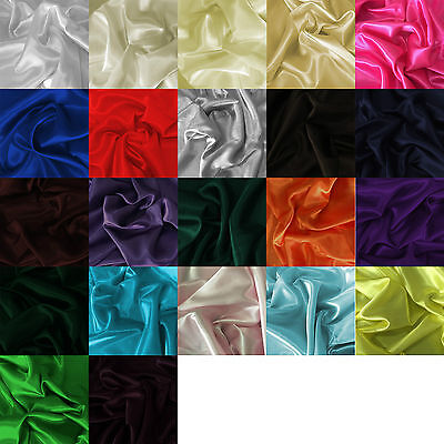 Silky Satin Fabric Plain Luxury Dress & Craft Material 150cm Wide, sold by Metre