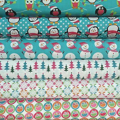 Fabric Freedom Xmas Characters 100% Cotton Fabric FQ Craft Quilt Patchwork Blue