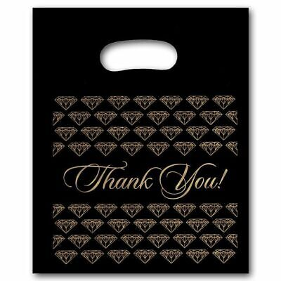 """Large Black Thank You Merchandise Plastic Retail Handle Bags 12"""" x 15"""" Tall"""