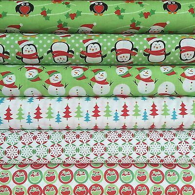 Fabric Freedom Xmas Characters 100% Cotton Fabric FQ Craft Quilt Patchwork Green