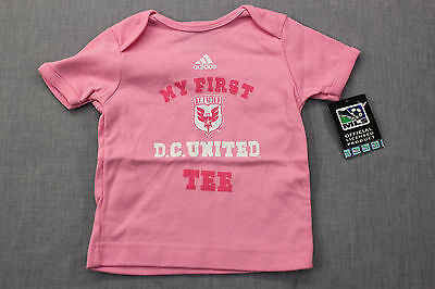 ADIDAS MLS SOCCER Girls Baby PINK MY FIRST D.C. UNITED TEE SHIRT NWT 12 Months