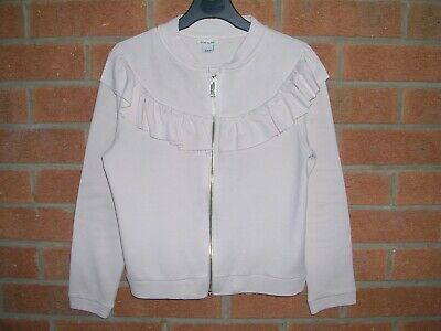 RIVER ISLAND Girls Pink Peach Ruffle Trim Bomber Jacket Coat Age 7-8 128cm