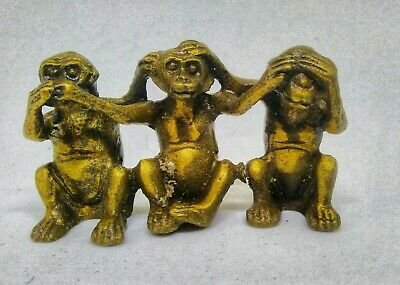Three Little Monkeys Brass Figurine