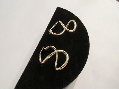 14K Yellow Gold Swirled Hoops – Italy - New - Gorgeous!