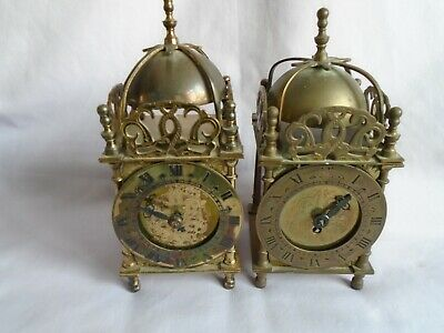 2 Smiths English Clocks Brass Lantern Clocks For Spares Or Repair