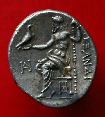 Genuine XF Ancient Greek Coin 301BC Silver Drachm Alexander The Great Teos