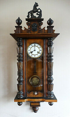 Antique Victorian Vienna Striking Wall Clock with 8 Day Movement & Horse Finial