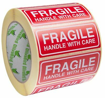 FRAGILE HANDLE WITH CARE - Labels / Stickers 90 x 35 mm Red and White