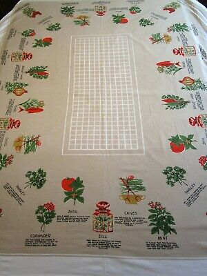 Vintage Tablecloth Herbs Rooster Tomato Print Fish 52X60 50S 60S Midcentury