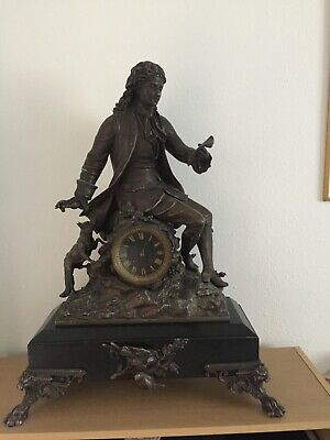 Antique Victorian Brass & Black Marble Mantle Clock - Dates back to 1880 - 1890