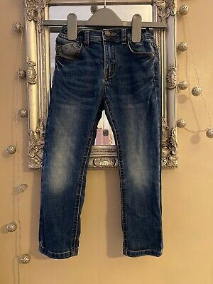Boys 5-6 Year Old Skinny Blue Jeans Faded Style Adjustable Waist Clean & VGC