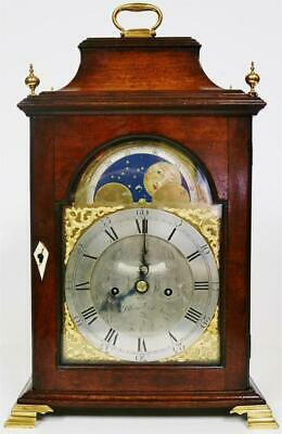 Antique English Mahogany Bell Top Twin Fusee Verge Moonphase Bracket Clock