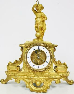 Antique French Farcot Gilt Cherub Figural Conical Pendulum Mystery Mantle Clock
