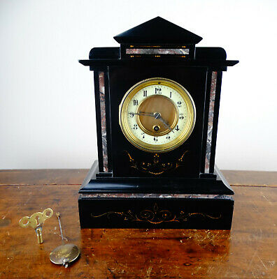 Antique Victorian French Mantel Clock in Polished Black Slate & Rouge Marble