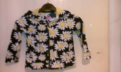 F+F Girls white with daisies fleece Blue white jacket 18/24 mths hooded pockets