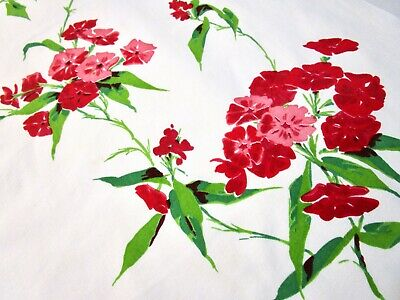 Vintage Tablecloth Wilendur? Phlox Flowers Red Pink Square 49X54 50S Mid Century