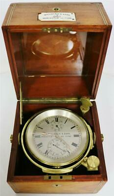Rare Antique 2 Day English William Lister Single Fusee Boxed Marine Chronometer