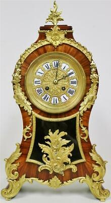 Sublime Antique 19thC French 8 Day Kingwood & Bronze Rococo Style Mantel Clock
