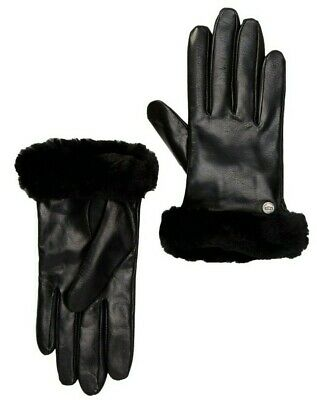 UGG Genuine Dyed Shearling Leather and Cashmere Womens Gloves Black