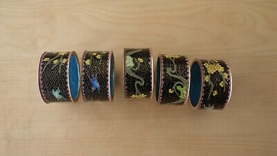 Group of 5 Vintage Chinese Brass Enamel Cloisonne Round Napkin Rings