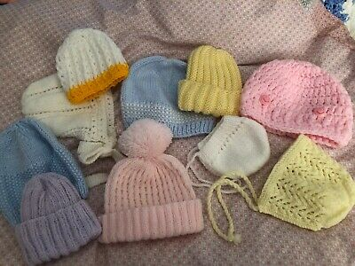 Bundle Of Hand Knitted And Crocheted Baby Hats