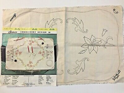 Vintage Stamped Linen To Embroider a Traycloth by Semco Design  64     ❤️ NEW ❤️