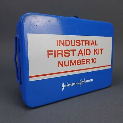 Vintage Johnson & Johnson Industrial First Aid Kit Metal Box USA