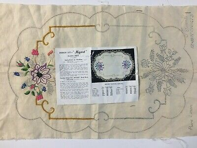 """""""Floral Piece"""" Vintage Stamped Linen To Embroider a Traycloth  by Myart - CX1473"""