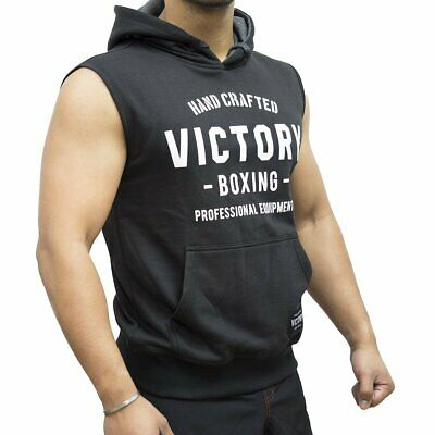 New Victory Sleeveless Hoodie Hand Crafted Black/White