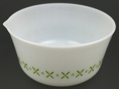 Vintage Mid Century Fire King Large Mixing Bowl Green X Pattern Anchor Hocking