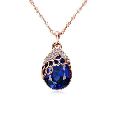 18K Gold Plated Blue Crystal Drop Beautiful Pendant Necklace Women Jewelry Gifts
