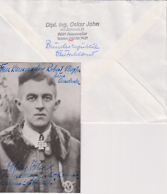 "Signed photo Oberleutnant Oskar John - ""Sonderkommando Komet""-Knights Cross"