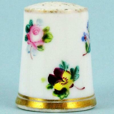 Antique 19Th Century English Floral Spray Gilt Hand Painted Porcelain Thimble