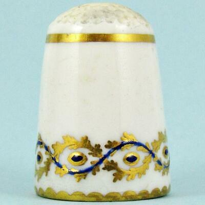 Antique 19Th Century English Blue Gilt Garland Wreath Painted Porcelain Thimble