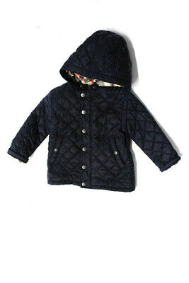 Burberry Children Girls Long Sleeve Quilted Jacket Coat Navy Blue Size 2Y