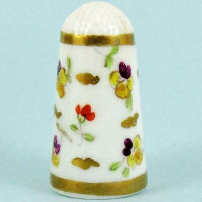 Antique 19Th Century English Floral Spray Gilt Highlighted Porcelain Thimble