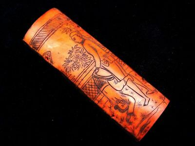 Vintage Bone Crafted Pendant Panel Ancient Exotic Figurines Painted #04201803