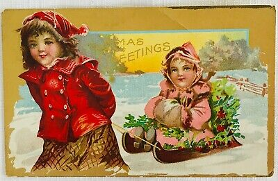 Antique Victorian Christmas Postcard - Girls with Sled - 1909