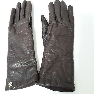 Isotoner Aris Vintage Gloves Brown Leather Cashmere Lining Womens One Size