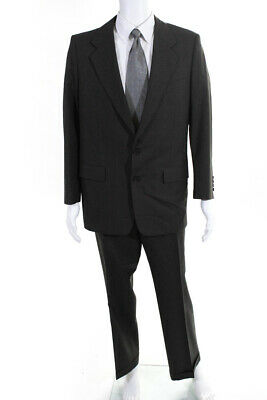 Hickey Freeman Mens Two Button Houndstooth Blazer Pants Suit Gray Size 40R