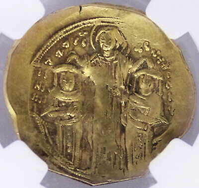 ANDRONICUS II & MICHAEL IX Christ 1294AD Byzantine Gold Hyperpyron NGC XF
