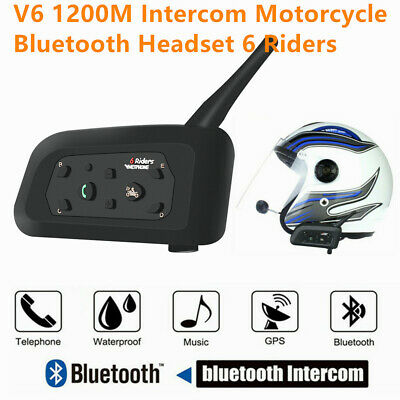 V6-1200 1200m Bluetooth Casco Auricolare Interfono Interphone Per 6 Riders Q8G5