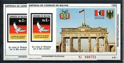 """1990 BOLIVIA-2 Sheets """"WORLD PEACE, UNION OF THE TWO GERMANS """"  MINT"""