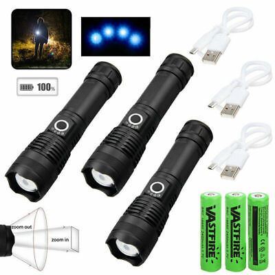 200000LM XHP50 LED Flashlight Lamp LED Torch Zoomable 5 Modes 18650 IR