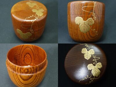 Japanese Traditional Lacquer WOODEN Grained Tea caddy IVY makie Chu-Natsume  217