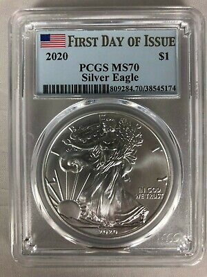 2020 $1 American Silver Eagle PCGS MS70 First Day Of Issue FDOI Flag Label