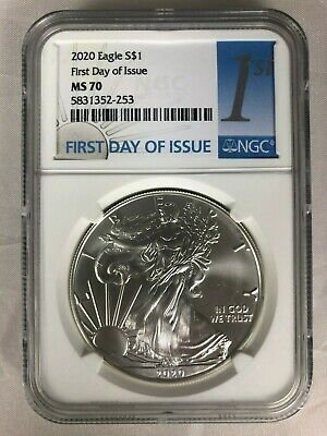 2020 $1 American Silver Eagle Ngc Ms70 First Day Of Issue Fdi Label