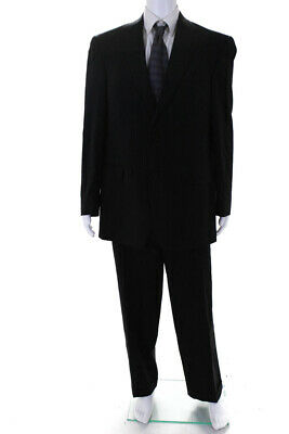Hart Schaffner Marx Mens Two Button Notched Collar Pleated Suit Black Wool 42